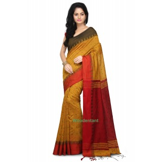 Handloom Cotton Silk Saree in Yellow With Temple Border