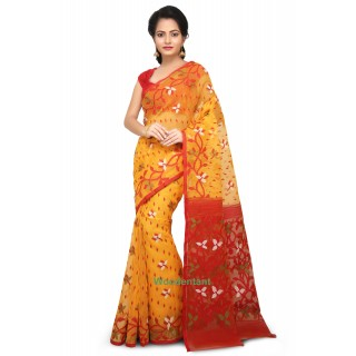 Dhakai Jamdani Handloom Saree In Yellow  With Multicolor Thread Work