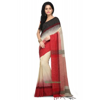 Ikkat Thread Border Pure Khadi Saree in Multicolor