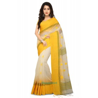 Ikkat Thread Work Khadi Silk Saree in White and Yellow