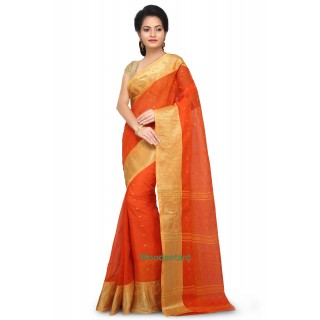 Cotton Tant Handloom Saree in Orange