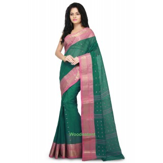 Cotton Tant Handloom Saree in Turquoise Green