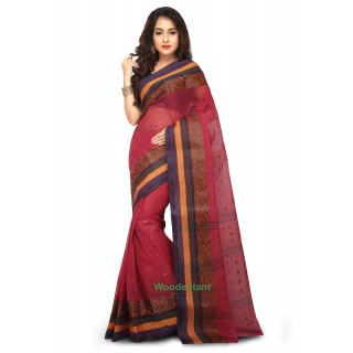 Cotton Tant Handloom Saree in Maroon