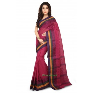 Cotton Tant Handloom Saree in Pink