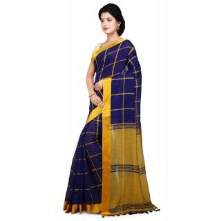 Handloom Cotton Silk Saree in blue With Yellow velvet border
