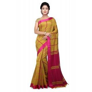 Handloom Cotton Silk Saree in Yellow With pink velvet border