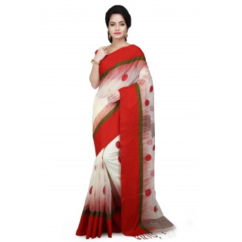 Woodentant  handloom khadi cotton Ball Saree In white and Red