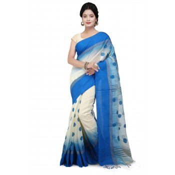 Woodentant handloom khadi Cotton Silk Ball Saree In White and  Blue