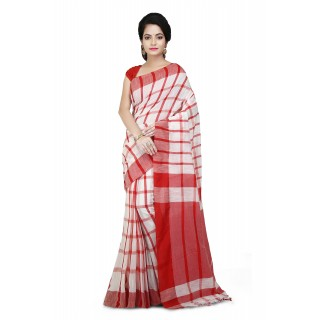 Handloom Cotton Pure Khadi  Saree Red and White with checked design