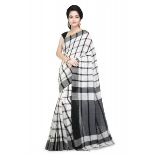 Handloom Cotton Pure Khadi  Saree Black and White with checked design