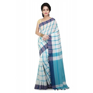 Handloom Cotton Pure Khadi  Saree Blue and White with checked design