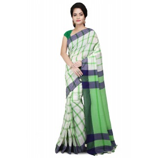 Handloom Cotton Pure Khadi  Saree Green and White with checked design
