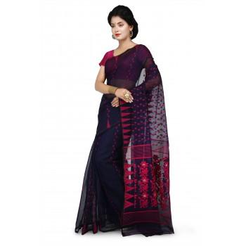 Wooden Tant Blue & Pink Cotton Silk Soft Dhakai Jamdani Handloom Saree