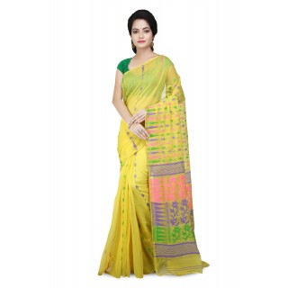 Dhakai Jamdani Handloom Saree in Yellow & multicolor  With Temple Border and Flower Design