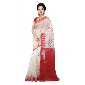 Dhakai Jamdani Handloom Saree in  White & Red  With Temple Border and Abstract Design