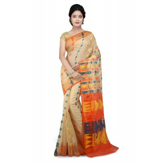 WoodenTant Cotton Silk Soft Dhakai Jamdani Handloom Saree in  Beige & Orange multicolor With Temple Border and Abstract Design