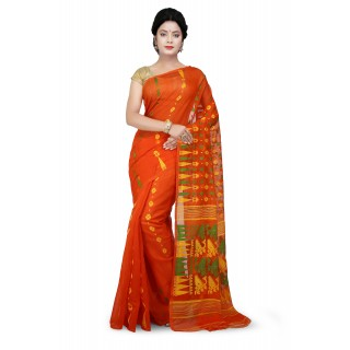 Dhakai Jamdani Handloom Saree in Orange multicolor With Temple Border and Abstract Design