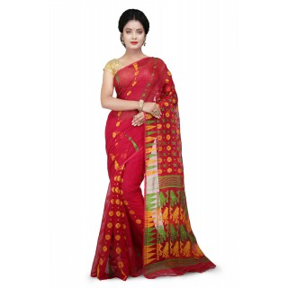 Dhakai Jamdani Handloom Saree Red and multicolor With Temple Border and Abstract Design