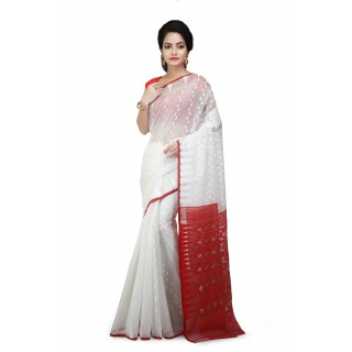 Dhakai Jamdani Handloom Saree White & Red With Temple Border and Abstract Design