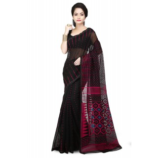 Dhakai Jamdani Handloom Saree in Black & pink  With Temple Border and Abstract Design