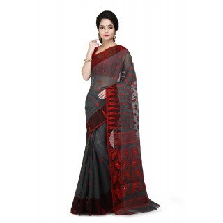 Dhakai Jamdani Handloom Saree in Grey & Red With Temple Border and Abstract Design