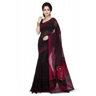 Dhakai Jamdani Saree in Black and pink With Temple Border and Abstract Design