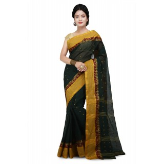 Cotton Tant Handloom Saree Green With yellow Buti Work