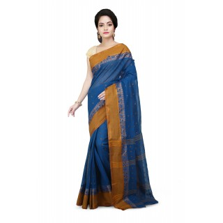Cotton Tant Handloom Saree Blue With yellow Buti Work