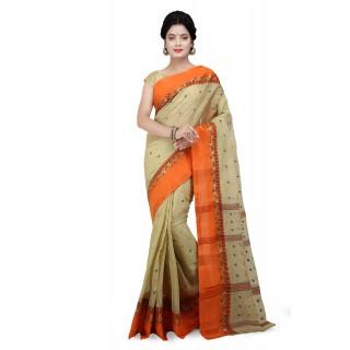 Beige Cotton Tant Handloom Saree With Multicolor color Buti Work