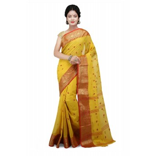 Cotton Tant Saree Yellow With Red Buti Work