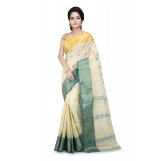 Cotton Tant Saree Beige With multicolor Buti Work
