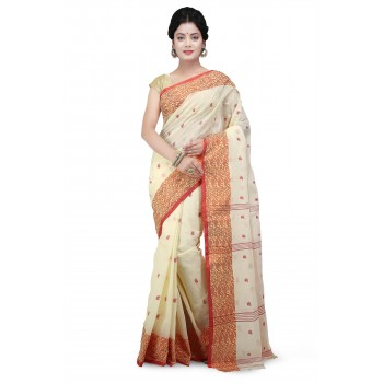 Cotton Tant Saree White with Red Buti Work