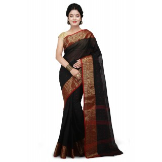 Cotton Tant Saree  Black With Red Buti Work