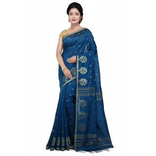 WoodenTant Cotton Silk Zari Saree In blue