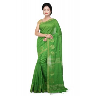 WoodenTant Cotton Silk Zari Saree In Green
