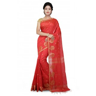 WoodenTant Cotton Silk Zari Saree In Orange