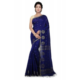 WoodenTant Cotton Silk Zari Saree In Royal Blue