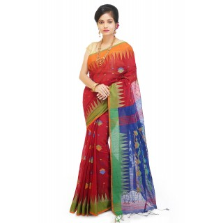 WoodenTant Handloom Cotton Silk Saree In Red And Blue with Temple Border
