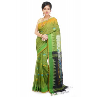WoodenTant Handloom Cotton Silk Saree In Green And Blue with Temple Border