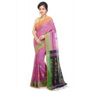 WoodenTant Handloom Cotton Silk Saree In Pink And Black with Temple Border