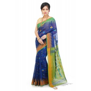 WoodenTant Handloom Cotton Silk Saree In Blue And Green with Temple Border