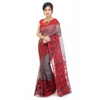 WoodenTant Women's Cotton Silk Dhakai Jamdani Saree In Grey And Red.