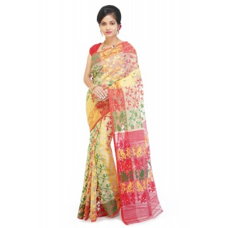 WoodenTant Women's Cotton Silk Dhakai Jamdani Handloom Saree In Beige With Leaves Design