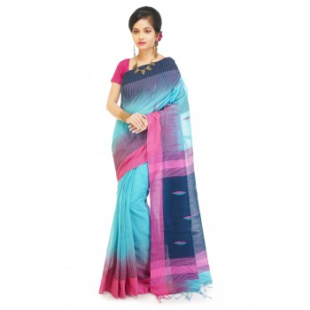 WoodenTant Women's Ikkat Cotton Silk Saree In light blue body color and multicolor pallu with thread work