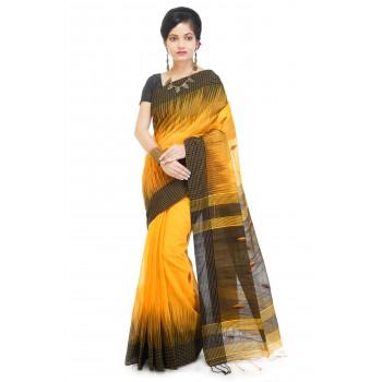 WoodenTant Women's Ikkat Cotton Silk Saree In Yellow