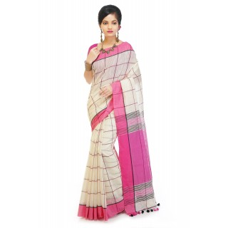 WoodenTant Checkered Handloom Pure Cotton Silk Saree. Fashion Features: Dual Tone Check Saree