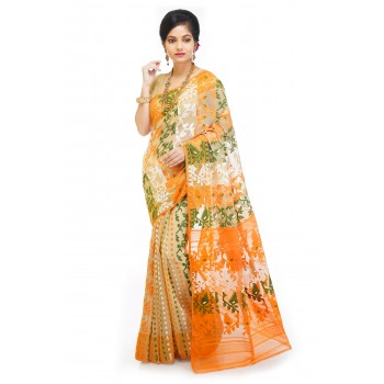 Woodentant Soft Cotton Silk Dhakai Jamdani In Multicolor With All Over Thread Work