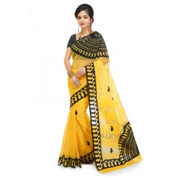 WoodenTant Pure Noyel Cotton Applique Saree In Yellow And Black With Kalka Design