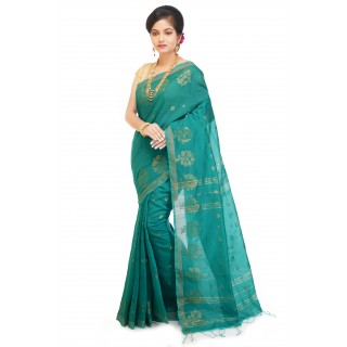 WoodenTant Cotton Silk Zari Saree In Sea Green with golden zari work in all over saree.