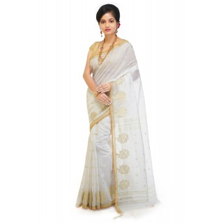 WoodenTant Cotton Silk Zari Saree In White with golden zari work in all over saree.